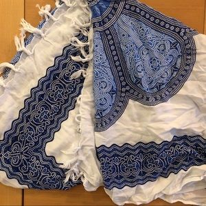 HANDMADE Summer Scarf White and Blue